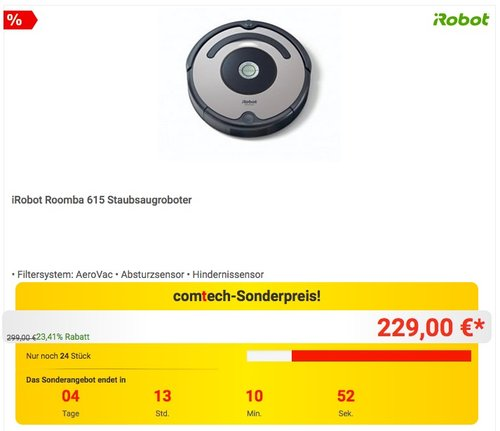 iRobot Roomba 615 Staubsaugroboter - jetzt 14% billiger