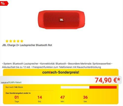 JBL Charge 2+ Lautsprecher Bluetooth in Rot - jetzt 25% billiger