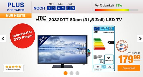 JTC 2032DTT 80cm (31,5 Zoll) LED TV mitintegriertem DVD-Player - jetzt 13% billiger