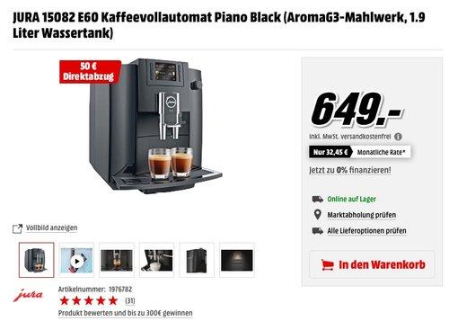 JURA 15082 E60 Kaffeevollautomat Piano Black - jetzt 8% billiger