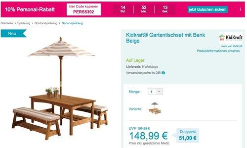 Kidkraft Gartentischset mit Bank, Kissen und Sonnenschirm – Beige-weiß gestreift - jetzt 28% billiger