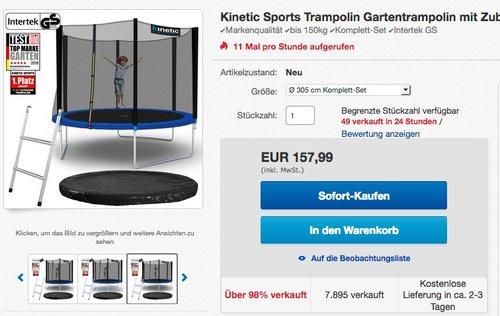 Kinetic Sports Trampolin Gartentrampolin 305 cm inkl. Netz Leiter Regenplane - jetzt 11% billiger
