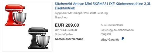 KitchenAid Artisan Mini 5KSM3311XE Küchenmaschine - jetzt 24% billiger