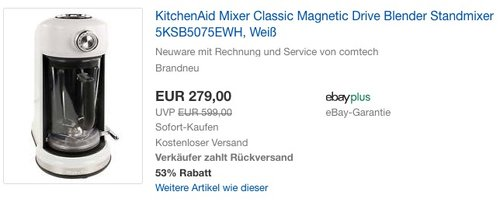 KitchenAid Mixer Classic Magnetic Drive Blender Standmixer - jetzt 21% billiger