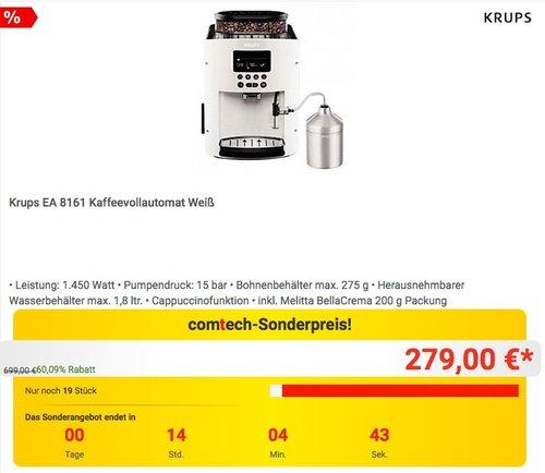 Krups EA 8161 Kaffeevollautomat Weiß - jetzt 7% billiger