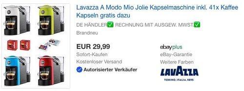 Lavazza A Modo Mio Jolie Kapselmaschine inkl. 41x Kaffee Kapseln - jetzt 25% billiger