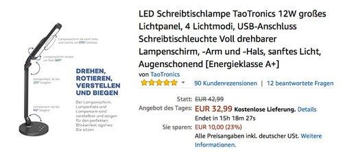 LED Schreibtischlampe TaoTronics 12W großes Lichtpanel - jetzt 30% billiger