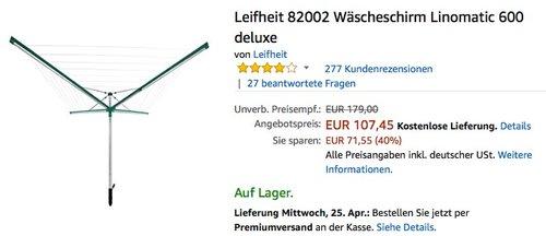 Leifheit 82002 Wäscheschirm Linomatic 600 deluxe - jetzt 19% billiger