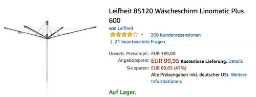 Leifheit 85120 Wäscheschirm Linomatic Plus 600 - jetzt 15% billiger