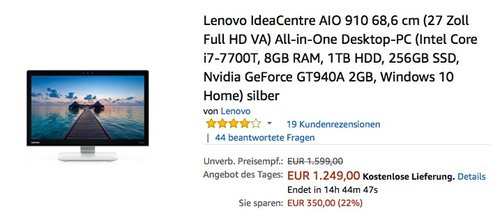 Lenovo IdeaCentre AIO 910 68,6 cm (27 Zoll Full HD VA) All-in-One Desktop-PC (Intel Core i7-7700T, 8GB RAM, 1TB HDD, 256GB SSD, Nvidia GeForce GT940A 2GB, Windows 10 Home) silber - jetzt 17% billiger