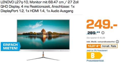 LENOVO L27q-10, Monitor mit 68.47 cm / 27 Zoll QHD Display, 4 ms Reaktionszeit - jetzt 13% billiger