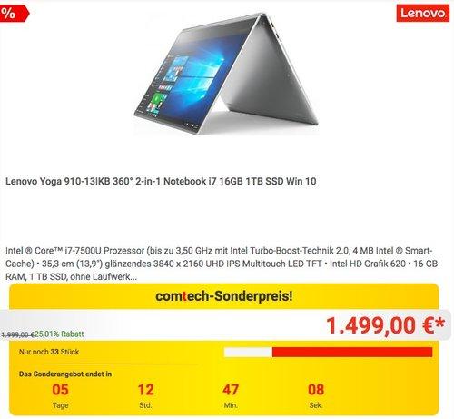 Lenovo Yoga 910-13IKB 360° 2-in-1 Notebook i7 16GB 1TB SSD Win 10 - jetzt 17% billiger
