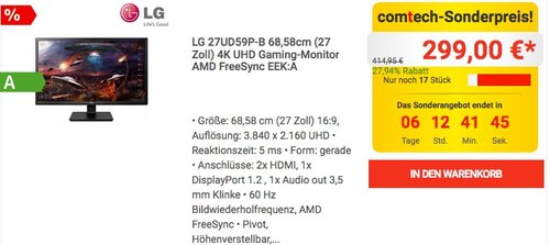 LG 27UD59P-B 68,58cm (27 Zoll) 4K UHD Gaming-Monitor AMD FreeSync - jetzt 17% billiger