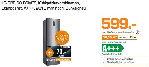 LG GBB 60 DSMFS Kühlgefrierkombination +  70€ Coupon - jetzt 6% billiger