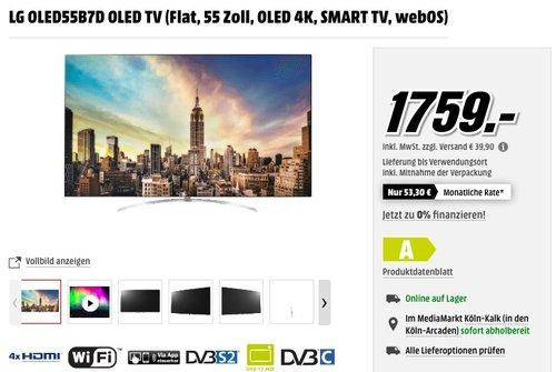 LG OLED55B7D OLED TV (Flat, 55 Zoll, OLED 4K, SMART TV, webOS) - jetzt 16% billiger