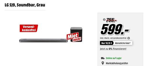 LG SJ9 5.1.2 Soundbar (500W, kabelloser Subwoofer, Dolby Atmos) grau - jetzt 20% billiger
