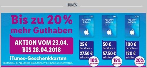 Lidl: bis zu 20 % mehr Guthaben auf iTunes Geschenkkarten (bis 28.04) - jetzt 17% billiger