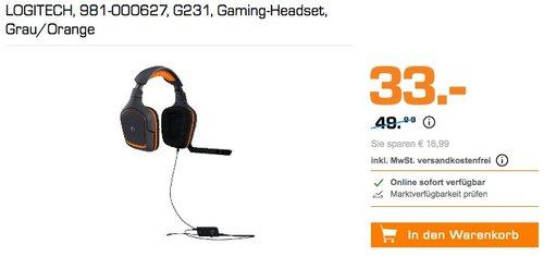 LOGITECH G231 Gaming-Headset Grau/Orange - jetzt 21% billiger