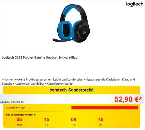 Logitech G233 Prodigy Gaming Headset Schwarz-Blau - jetzt 18% billiger