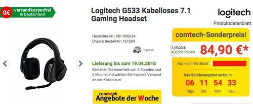 Logitech G533 Kabelloses 7.1 Gaming Headset - jetzt 21% billiger