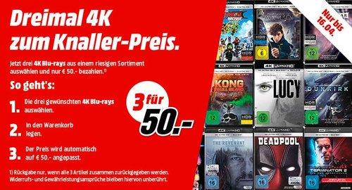 MediaMarkt: Drei 4K Blu-rays für 50€ (nur bis 16.04) - jetzt 36% billiger