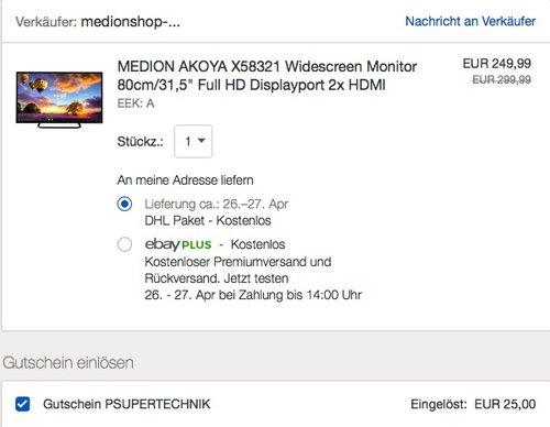 "MEDION AKOYA X58321 Widescreen Monitor 80cm/31,5"" - jetzt 10% billiger"