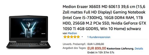 Medion Erazer X6603 MD 60613 39,6 cm (15,6 Zoll mattes Full HD Display) Gaming Notebook - jetzt 22% billiger