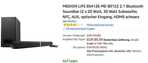MEDION LIFE E64126 MD 80122 2.1 Bluetooth Soundbar - jetzt 10% billiger