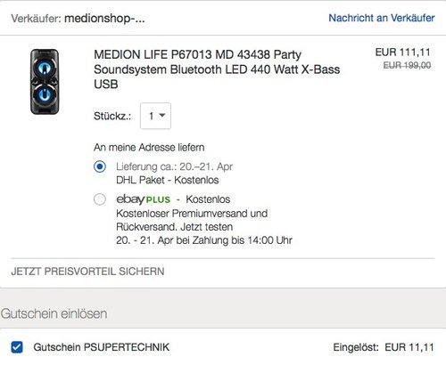 MEDION LIFE P67013 MD 43438 Party Soundsystem - jetzt 10% billiger