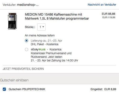 MEDION MD 15486 Kaffeemaschine mit Mahlwerk 1,5L 8 Mahlstufen programmierbar - jetzt 22% billiger