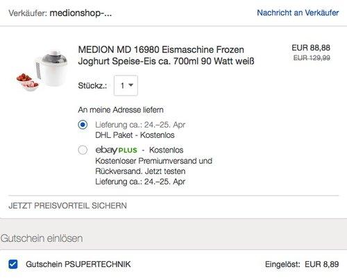 MEDION MD 16980 Eismaschine Frozen Joghurt - jetzt 12% billiger