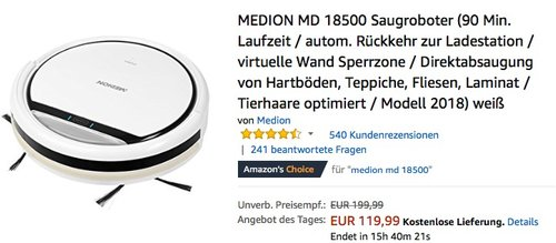 MEDION MD 18500 Saugroboter - jetzt 19% billiger