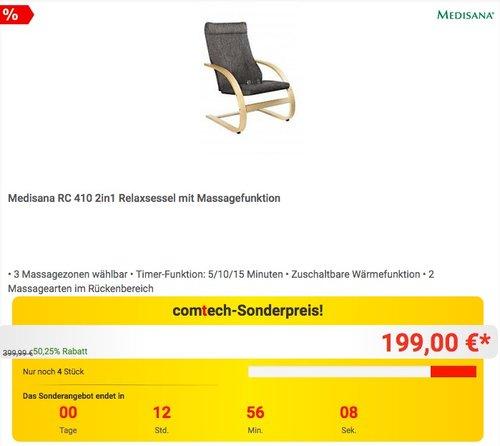 Medisana RC 410 2in1 Relaxsessel mit Massagefunktion - jetzt 16% billiger