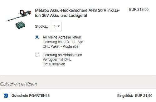 Metabo Akku-Heckenschere AHS 36 V inkl.Li-Ion 36V Akku und Ladegerät - jetzt 21% billiger