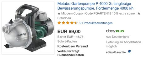 Metabo P 4000 G (600964000) Gartenpumpe - jetzt 10% billiger