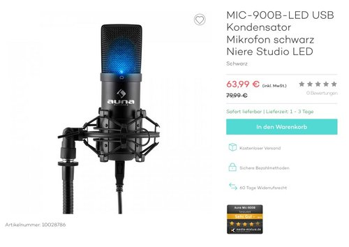MIC-900B-LED USB Kondensator Mikrofon schwarz Niere Studio LED - jetzt 9% billiger