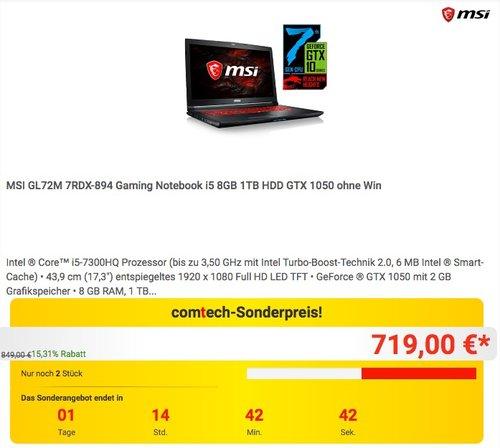 MSI GL72M 7RDX-894 Gaming Notebook i5 8GB 1TB HDD GTX 1050 ohne Win - jetzt 14% billiger