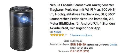 Nebula Capsule Beamer von Anker, Smarter Tragbarer Projektor mit Wi-Fi Pico - jetzt 30% billiger