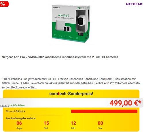 Netgear Arlo Pro 2 VMS4230P kabelloses Sicherheitssystem mit 2 Full-HD-Kameras - jetzt 11% billiger