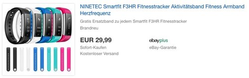 NINETEC Smartfit F3HR Fitnesstracker + Gratis Ersatzband zu jedem Smartfit F3HR Fitnesstracker - jetzt 33% billiger