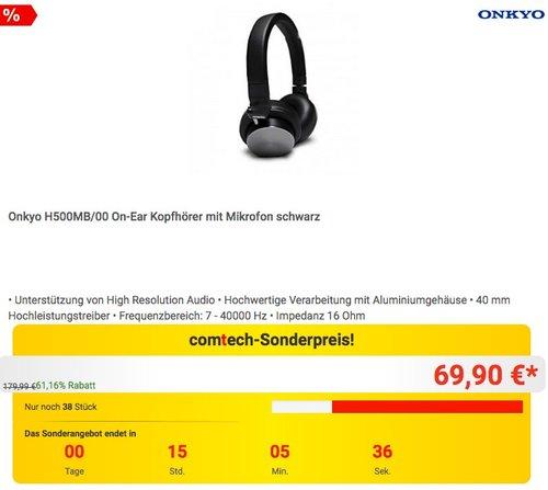 Onkyo H500MB/00 On-Ear Kopfhörer mit Mikrofon schwarz - jetzt 54% billiger