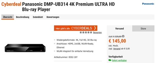 Panasonic DMP-UB314 4K Premium ULTRA HD Blu-ray Player - jetzt 12% billiger