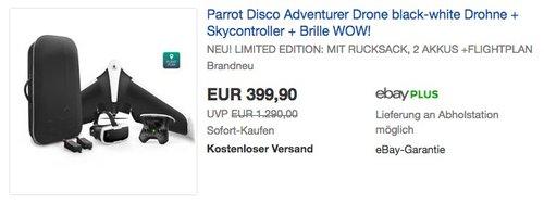 Parrot Disco Adventurer Drone black-white Drohne + Skycontroller + Brille + Rucksack + 2 Akkus + Flightplan App - jetzt 33% billiger