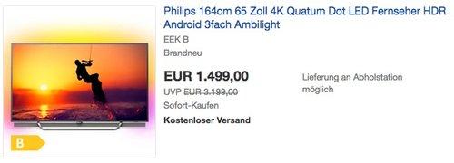 Philips 164cm 65 Zoll 4K Quatum Dot LED Fernseher mit 3fach Ambilight - jetzt 20% billiger