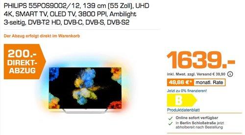 Philips 55POS9002-12 55 Zoll Ambilight OLED 4K Fernseher - jetzt 12% billiger