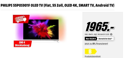 PHILIPS 55POS901F OLED TV (Flat, 55 Zoll, OLED 4K, SMART TV, Android TV) - jetzt 3% billiger