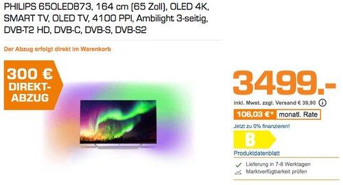 PHILIPS 65OLED873 164 cm (65 Zoll) OLED 4K SMART TV Ambilight 3-seitig - jetzt 9% billiger