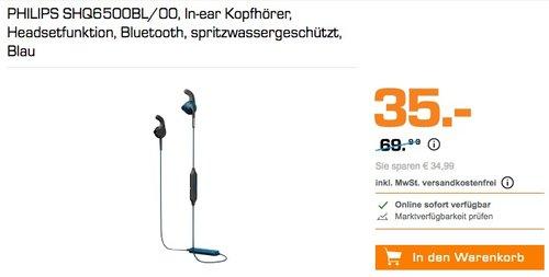 PHILIPS ActionFit SHQ6500BL/00 Bluetooth In-ear Kopfhörer - jetzt 50% billiger