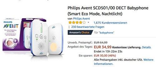 Philips Avent SCD501/00 DECT Babyphone mit Nachtlicht - jetzt 18% billiger