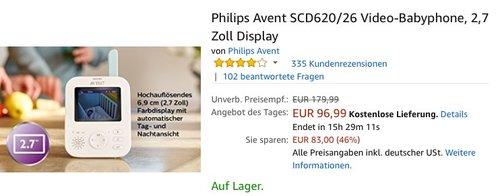 Philips Avent SCD620/26 Video-Babyphone mit 2,7 Zoll Display - jetzt 19% billiger